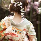 着物 和装 桜 和装ヘア 着付け 婚礼 相楽園