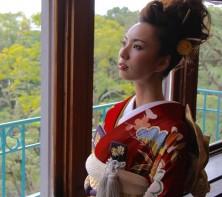 神戸迎賓館須磨離宮 着物 引き振り 赤 メイク