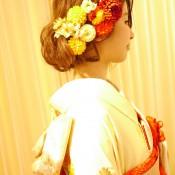 着物 和装 和装ヘア ボブ 着付け 婚礼 ピンポンマム 引き振り